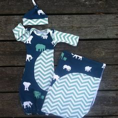 Mint Elephant, chevron, organic, infant gown, coming home, going home, take me home, newborn, layette, baby boy, baby girl  on Etsy, $75.00