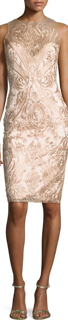 Marchesa Notte Sleeveless Embroidered Illusion Cocktail Dress, Blush