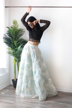 Who said florals can only be worn in the summer ? Our floral skirts can be paired with multiple styles of tops to create stunning outfits that can be worn all year round. Indian Wedding Outfits, Indian Outfits, Look Fashion, Indian Fashion, Floral Fashion, Fashion Outfits, Floral Skirt Outfits, Floral Skirts, Modele Hijab