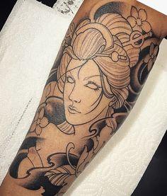 Amsterdam TATTOO 1825 KIMIHITO Geisha girl tattoo in progress