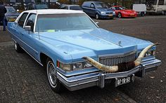 1975 Cadillac Fleetwood Brougham Talisman  Jennifer Blue w/ blue cloth & white padded vinyl roof (located somewhere in Europe)