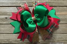 "Boutique Christmas Hair Bow , 5"" Christmas Hair Bow , Hair Bow for Girls , Christmas Hair Clip , Glitter Christmas Hair Bow"