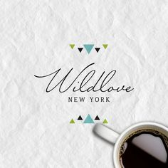Wildlove New York Typo Logo, Typography, Lettering, Business Logo, Business Card Design, Logo Inspiration, Watermark Design, Boutique Logo, Elegant Logo