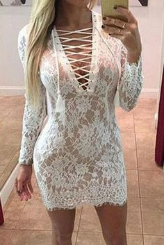 Embroidery V-Neck Bodycon Lace Dress