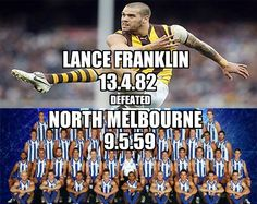 Lance Franklin 13.4.82 defeated North Melbourne 9.5.59 cc @EpicChook @p_terg #AFL
