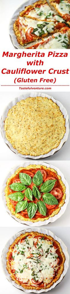 This Margherita Pizza with Cauliflower Crust tastes just like pizza without all of the calories or carbs! It's a great Gluten Free option as well! | http://Tastefulventure.com