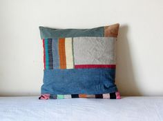 Denim and linen patchwork pillow case. Decorative by Paczula, $38.00