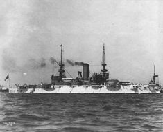 """USS """"Illinois"""" (BB-7) the leading ship of its class Pre-Dreadnought Battleships anchored with other ships of the Atlantic fleet, possibly from 15 to 28 February 1902"""