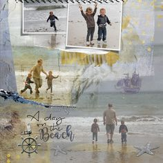 A artsy Digital scrapbook/art page from my grandchildren playing in the waves at…