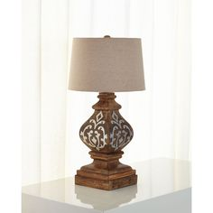 G G Collection Heritage Table Lamp (11 830 UAH) ❤ liked on Polyvore featuring home, lighting, table lamps, brown, brown shades, brown shade, handmade lights, gg collection and brown lamps