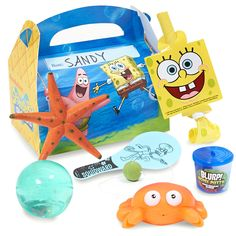 SpongeBob Classic Party Favor Box Each box includes a SpongeBob blowout*, SpongeBob Activity/Sticker Book*, assorted bubble bottle, crab squirter and 2 sea critter gummy candies. Some ADULT assembly r