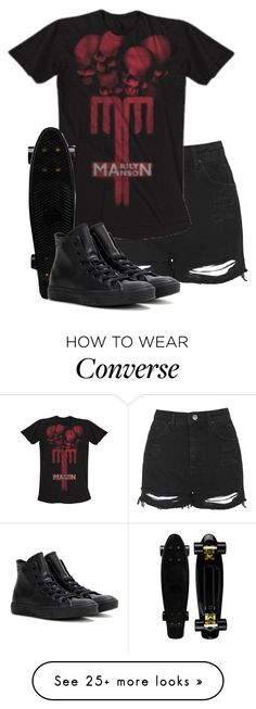 """""""death march//motionless in white"""" by bands-are-my-savior on Polyvore featuring Topshop and Converse"""