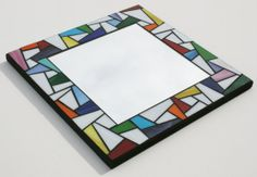 """Stained Glass Mosaic Mirror - With Colorful Accents 12"""" x 12"""""""