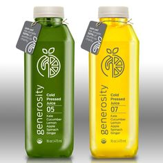 Create a label for a cold pressed juice company that gives half of proceeds to charity! by sonia524