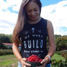 {we must build each other up} proud to wear my new shirt from @unlockhope while #raspberry picking yesterday. Solely through the sale of their products Unlock Hope is able to fully fund the Think Humanity hostel in #uganda and provide everything necessary - food shelter tuition healthcare - for young #refugee girls in #africa many of whom are orphaned to receive an #education.  #fashionabetterworld #style #unlockhope #change4good #food #enviro4change #ethicalfarming #sustainability #hope