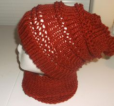 Brick Colored Knit Cowl Scarf and Slouch Beanie by amandassoaps on Etsy