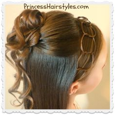 Formal Half Updo Hairstyle, Cascading Curls and Chains
