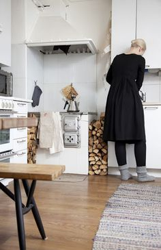 Finnish modern kitchen with inspiration from traditional Finnish interior