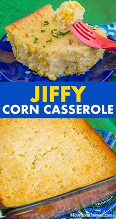 Jiffy Corn Casserole. Wow, this cornbread pudding style casserole was a huge hit, my family was fighting over seconds! A great side dish. #cornbread #corncasserole #cornpudding #corn #sidedish #recipes #baking #lftorecipes