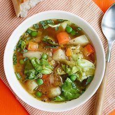 Quick Veggie Soup with Spring Lettuce