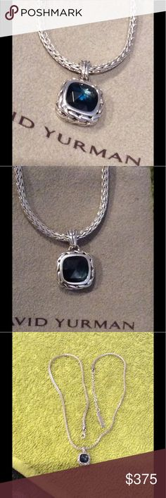 Authentic John Hardy Blue Topaz Necklace Newly Polished, beautiful Topaz   Pendant and chain together John Hardy Jewelry Necklaces