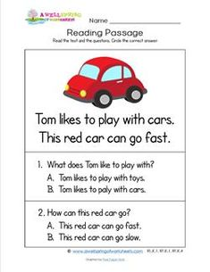 a kindergarten reading comprehension worksheet. First Grade Reading Comprehension, Reading Comprehension Worksheets, Reading Response, Reading Passages, Card Reading, Comprehension Strategies, English Worksheets For Kids, English Lessons For Kids, Opposites Preschool