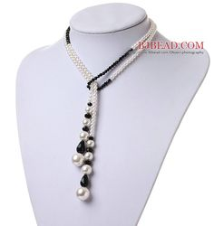 Lovely Long Style White Seashell Pearls And Manmade Black Crystal Pendant Necklace - Bjbead.com