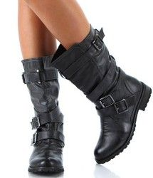 Women's Black Biker Boots #biker_boots