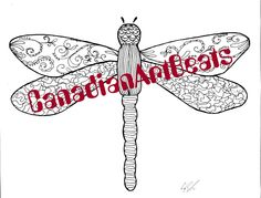 Downloadable Dragonfly Zentangle inspired Coloring Page by CanadianArtBeats on Etsy