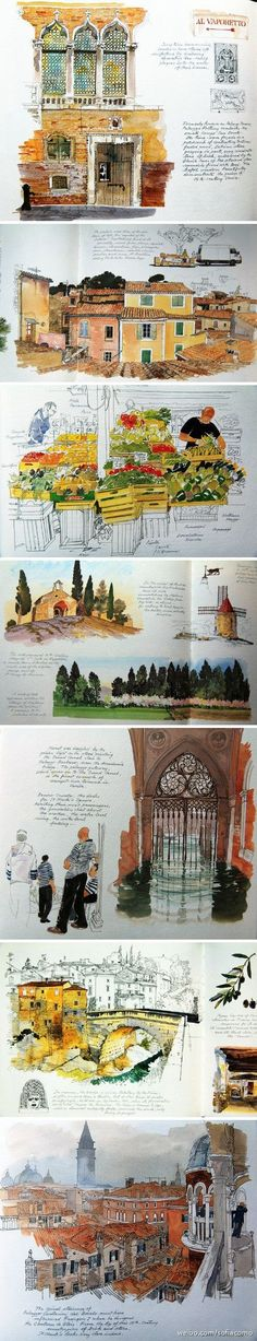 [CasaGiardino] ♛ Beautiful pen and ink watercolor work in this sketch journal featuring travel architecture. Voyage Sketchbook, Travel Sketchbook, Arte Sketchbook, Sketch Journal, Artist Journal, Watercolor Journal, Watercolor Sketch, Urban Sketchers, Sketchbook Inspiration