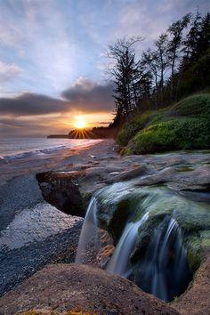 """Sunset at Sandcut Falls Jordon River, Vancouver Island, British Columbia, Canada, Adam Gibbs"""