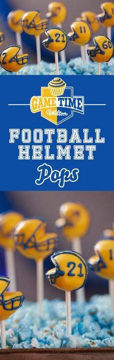 DIY Doughnut Hole Football Helmet Pops - Learn how to make these fun football helmets with Wilton Candy Melts candy and doughnut holes. It's an easy project that you can customize to fit your team colors and numbers! Great for any tailgate or any time you watch a football game with your friends and family.