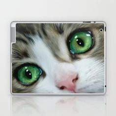 Kitty Cat Laptop & iPad Skin by Alice Gosling - $25.00  Skins for the ipad, ipad mini and various sizes of laptop #ipad #ipadmini #laptop #kitten #cat #cute #animal #pet #feline #eyes #green #purr