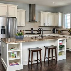 Classic white cabinets  modern appliances.  #kitchen #kitchencabinets #modernkitchen #beautifulkitchen #cabinets #whitekitchen #kitchendesign #design #trends #interiordesign by badgercorrugating Great kitchen remodeling ideas