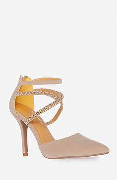 Chain Strap Heels in Beige 5.5 - 10 | DAILYLOOK
