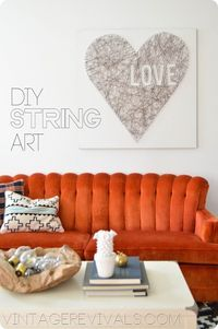 DIY Heart String Art Project at Vintage Revivals