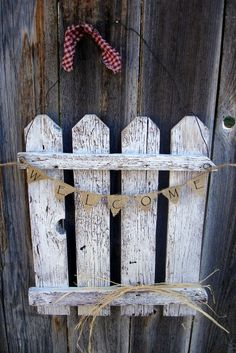 Image detail for -Rustic Picket Fence Door Hanger Welcome Home by SoPurdyCreations