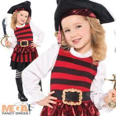 Pirate Girl + Hat Ages 3-6 Fancy Dress Pirates Halloween Kids Book Child Costume | eBay