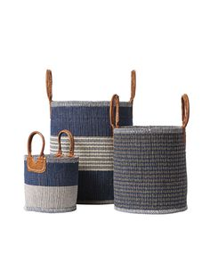 "Huntington Baskets - Serena & Lily Site  Indigo  $88 - $188 • 50% jute, 50% cotton. • Handwoven in India.  • Small: 10""SQ base x 10""H.  • Medium: 16""W x 14""D x 16""H.  • Large: 21""W x 18""D x 21""H."