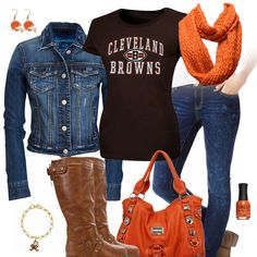 If the boots had a heel it would be perfection! Go Browns, Browns Fans, Brown Fashion, Cute Fashion, Cleveland Browns Football, Alabama Football, American Football, Jean Jacket Outfits, Brown Outfit