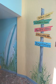 Hand Painted Beach Mural in hallway
