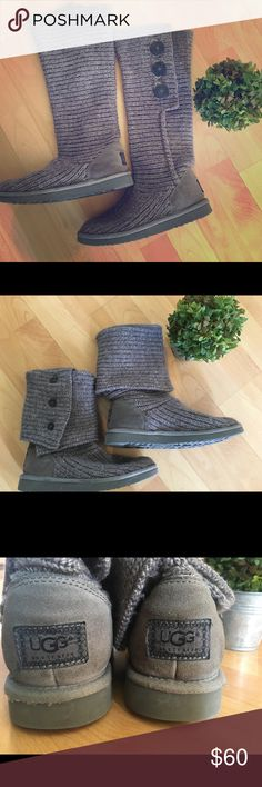 Ugg Classic Cardy Can be worn either rolled up or down for different looks! Soles are in great condition. There is a spot on the front of the right boot (shown in pics) that was there from the time of purchase. Didn't bother me, so I kept them anyway. Please let me know if you have any questions.....happy shopping! 🌺 UGG Shoes