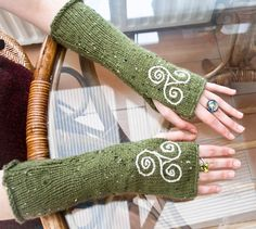Arm warmers - knitted Irish wool - Celtic design.