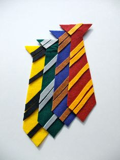 Harry Potter Inspired Felt Pin-On Ties - FREE STANDARD SHIPPING. $48.00, via Etsy.