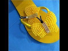 Como fazer sandália bordada com pérolas borboleta de pérolas - YouTube