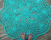 "Turquoise Patio Porch Cord Crochet Rug in 45"" Pineapple Flower Pattern"