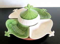 california pottery avocado green and white fleur de lis d 102 lazy susan relish and dip