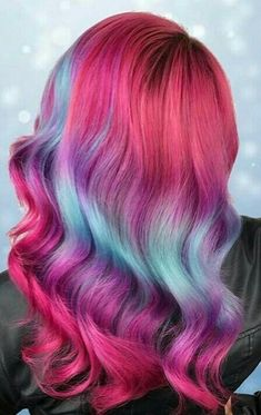 Gorgeous wavy pink and blue hair