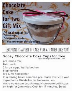 A cute idea for Valentine's Day, a teacher or office gift, or just a quick desert for tonight. Pampered Chef Desserts, Pampered Chef Party, Gooey Chocolate Cake, Semi Sweet Chocolate Chips, Tupperware Recipes, Bowl Cake, Cooking For Two, Piece Of Cakes, Food Gifts