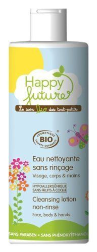 Happy Future Cleansing Lotion Non-rinse, 12.67-Ounce by Happy Future. $17.00. This 'real organic' certified cleansing lotion gently helps remove impurities and refreshes baby's sensitive skin whenever required, leaving it delicately and naturally scented.
